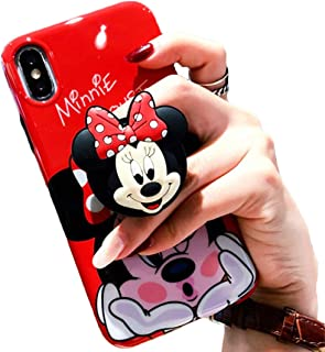 3D Cute Cartoon Soft Silicone Protector Case Gel Shockproof Phone Cover & Hand Holder Bracket Stand ~ Estuche Fundas Cobertor (Minnie, iPhone Xs MAX 6.5