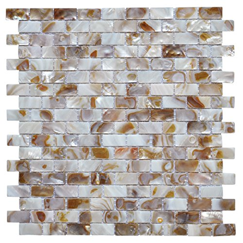 "Art3d 10-Piece Mother of Pearl Shell Mosaic Backsplash Tile for Kitchen, Bathroom Walls, Spa Tile, Pool Tile, 12"" x 12"" Natural Color"