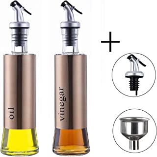 MHtech Botella de Aceite - Dispensador de Acero Inoxidable para Aceite y vinagre, a Prueba de Polvo y a Prueba de Fugas,utensilio de Cocina (300 ml + 2 Piezas)