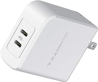 Rampow PD充電器 45W USB-C急速充電器 Type-c【PD対応/2ポート/PSE認証/保証付き】 iPhone 11/11 Pro/11 Pro Max、Galaxy S8/S9/S10/S10+、iPad Pro、MacBoo...