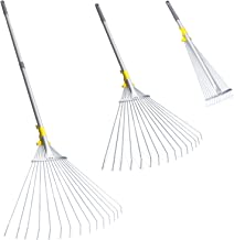 Jardineer 63 inch Adjustable Garden Rake Leaf, Collect Loose Debris Among Delicate Plants, Lawns and Yards, Expandable Head from 7 inch to 23 inch. Ideal Garden Rake Tools. 1 Year Warranty