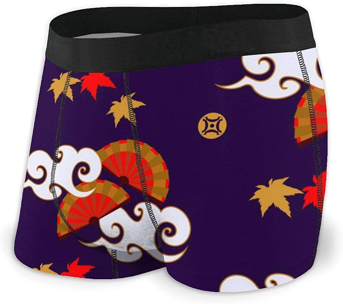 Mens Boxer Briefs Funny Fans and Red Leaf Breathable Underwear