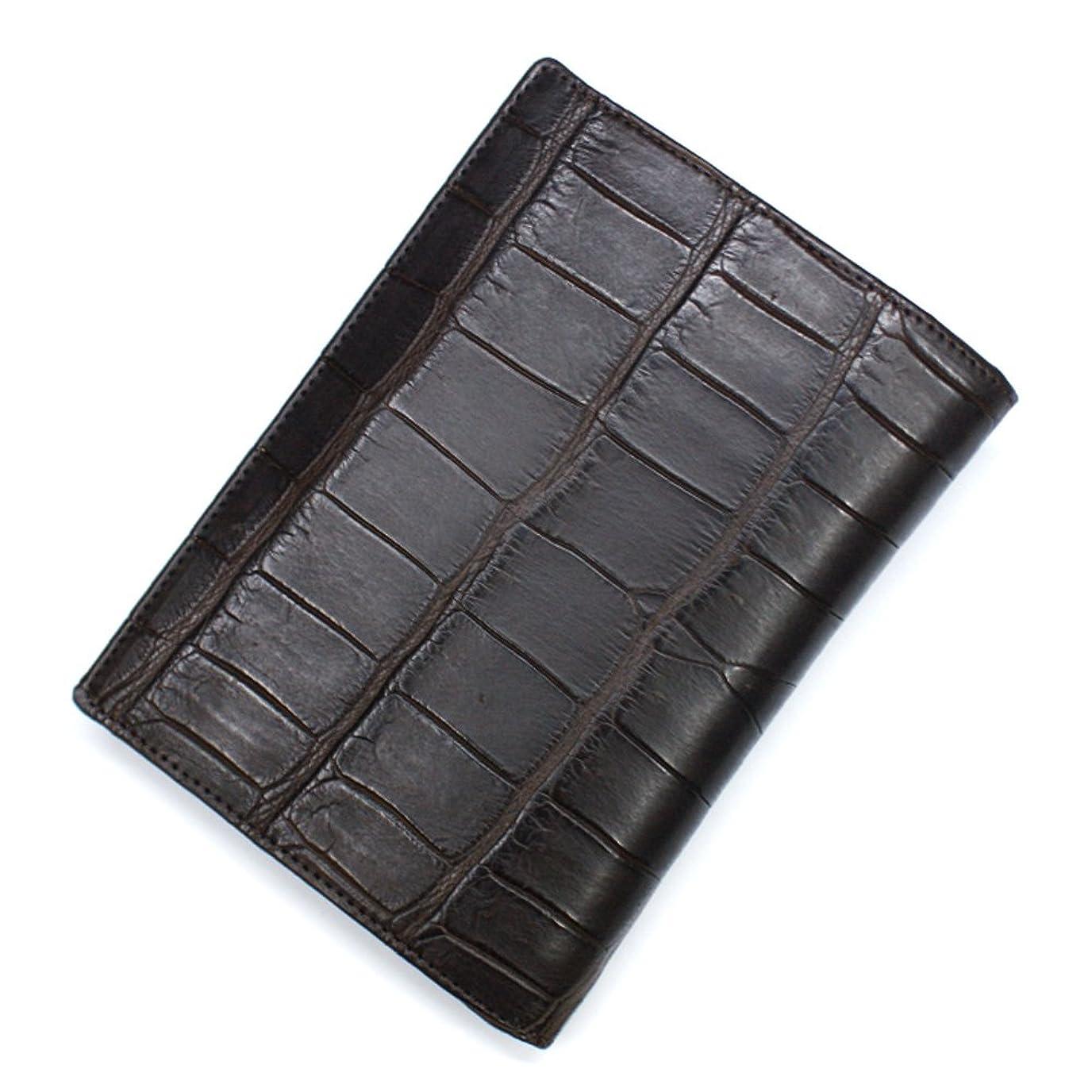 繰り返しあえぎ努力CRM1165-CHOCO クロコダイル革 ワニ革 二つ折り カード入れ カードホルダー カードケース レザー 薄型カード入れ 大容量 大量収納 パスポートサイズ L.size マット チョコ