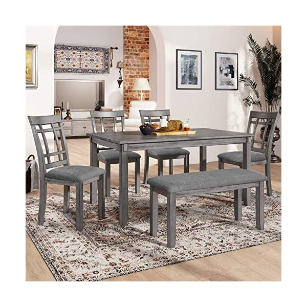 LUMISOL Dining Table Set, 6 Piece Wood Kitchen Table Set Dining Dinette Table Chairs...