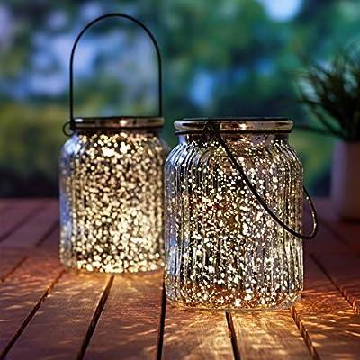 Hanging Solar Lights Outdoor - 2 Pack Mercury Glass Jars Indoor Outdoor Table Lamps for Patio Garden Lawn Wall Décor