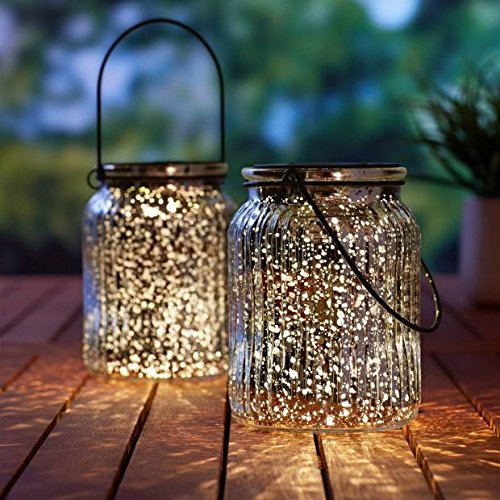 Solar Mercury Glass Jar Lights - 2 Pack Silver Table Lamps Hanging Indoor Outdoor Lights for Patio Garden Lawn Wall Decor (Silver1)