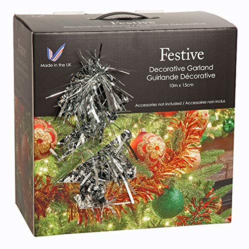 Festive Productions 182787 - Ghirlanda lunga e grossa in scatola, colore: Argento