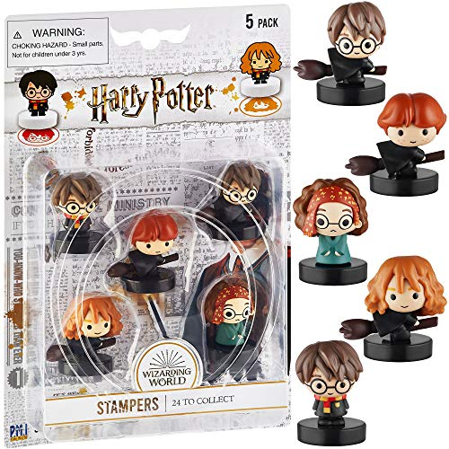 Self-Inking Harry Potter Stampers, Set of 5 – Harry Potter Gifts, Collectables, Party Decor, Cake Toppers – Hermione Granger, Harry Potter, Ron Weasley, and More by PMI, 2.5 in. Tall