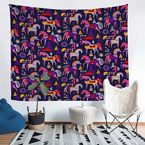 Horse Wall Tapestry 3D Galloping Steed Tapestry for Kids Boys Girls Bohemian Style Tapestry Wall Hanging Wild Animal Decor Wall Art for Bedroom Living Room,Large 58x79 Inch
