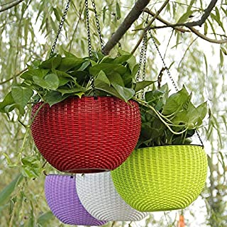Home Decor Stuff Balcony planters | UV Treated Plastic Pots with Hanging Chains for Plants and Garden/Home Decor (Pack of ...