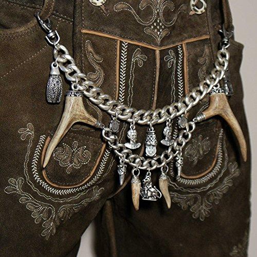 Charivari Kette Tracht Hirschhorn Hirsch Reh Horn Trachtenkette für Lederhose, hochwertige schwere Qualität echt versilbert! Handgefertigtes Unikat Herren Damen Made in Austria - 8