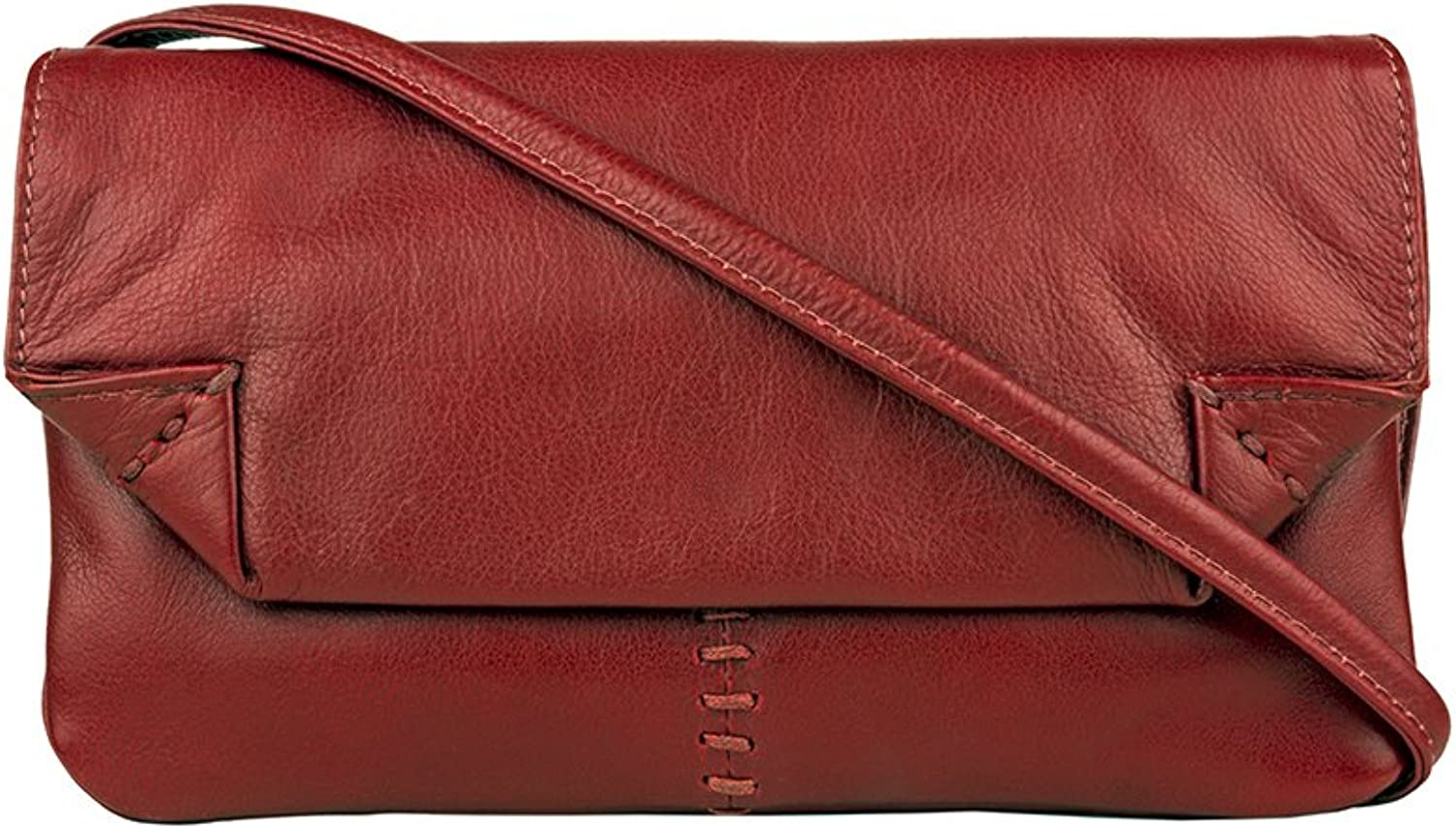 HIDSN Hidesign Stitch Leather Handcrafted Cross Body Bag, Red, International CarryOn