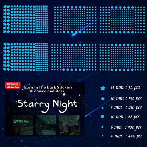 1230 PCS Ultra Glow in The Dark Stars Wall Stickers, 3D Adhesive Dots Decor Starry Sky Decor for Kids Bedroom or Birthday Gift,Beautiful Wall Decals - Sky Blue