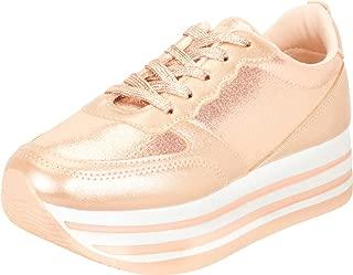Cambridge Select Women's Retro 90s Lace-Up Stripe Chunky Platform Fashion Sneaker
