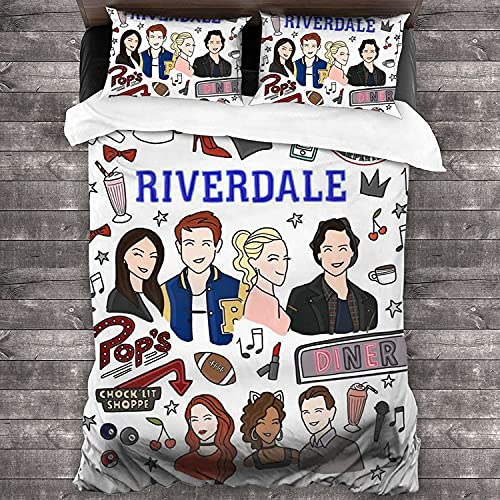 Riverdale Juego de ropa de cama Riverdale, 100% microfibra, suave, cómodo, suave, cómodo, fácil de limpiar, adecuado para las cuatro estaciones (Riverdale-1, 135 x 200 cm + 80 x 80 cm x 2)