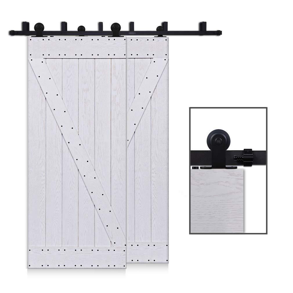 CCJH 4FT-122cm Bypass Herraje para Puerta Corredera Kit de Accesorios para Puertas Correderas Rueda Riel Juego para Dos Puertas de Madera: Amazon.es: Bricolaje y herramientas