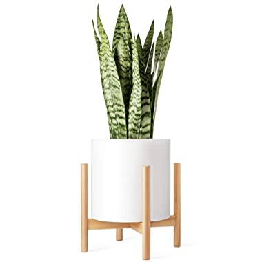 Mkono Plant Stand Mid Century Wood Flower Pot Holder (Plant Pot NOT Included) Potted Stand Indoor Display Rack Rustic Decor, Up to 12 Inch Planter, Natural