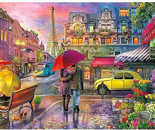 djjinhao - 1000 Piezas Puzzle - Paisaje de la Esquina de la Calle de París - Rompecabezas para niños Adultos Juego Creativo Rompecabezas Navidad decoración del hogar Regalo