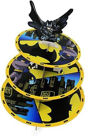 Preisvergleich für Trimming Shop, Cupcake-Ständer, Etagere, 3-stöckig, runder Turm aus Karton, für Kinder-Partys und Veranstaltungen batman