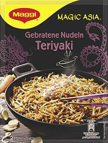 Maggi Magic Asia Gebratene Nudeln Teriyaki, japanisches Fertiggericht, Instant-Nudeln, mit Mungobohnen & Shiitake-Pilzen, 11er Pack (11 x 126g)