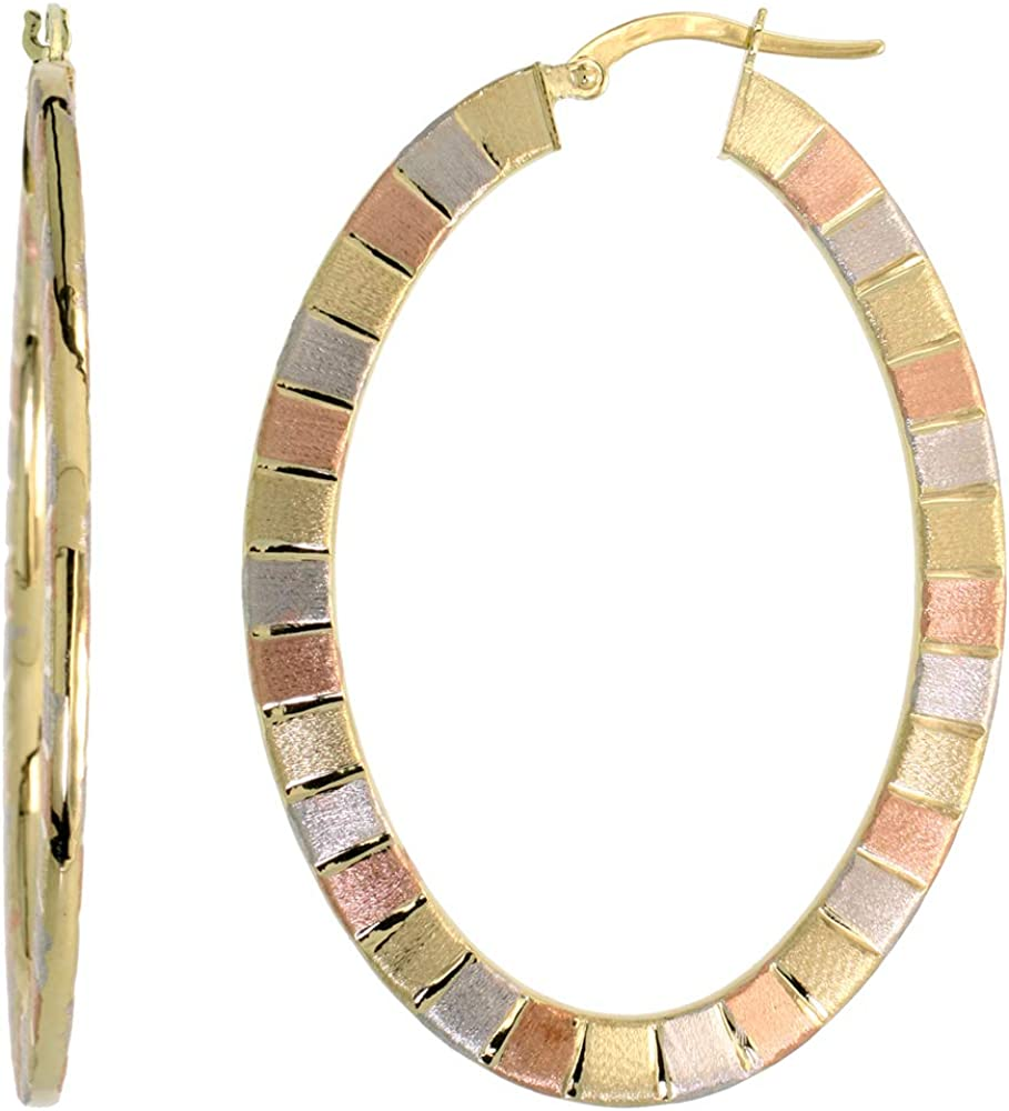 10K Two Tone Gold Flat Hoop Earrings Yellow and Rose Stripe Pattern Italy 1-2 inch