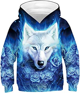 Huashao Kids Boys Girls 3D Graphic Pullover Novelty Animal Patterned Hoodies Casual Hooded Sweatshirt with Pockets 6-16 Years Wolf Patterned