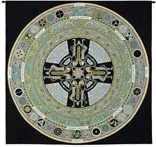 Celtic Mandala | Woven Tapestry Wall Art Hanging | Celtic Knot Tribal Symbols | 100% Cotton USA Size 52x51