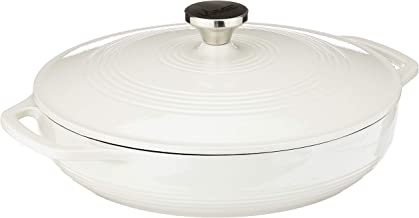 Lodge Enameled Cast Iron Casserole With Steel Knob and Loop Handles, 3.6 Quart, Oyster White