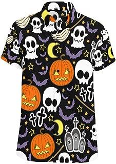 Men Regular Fit Halloween Pumpkins Black Print Casual Button Down Short Sleeve Shirt S-5XL