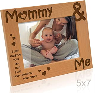 KATE POSH - Mommy & Me Engraved Natural Wood Picture Frame, I Love Mommy Photo Frame, New Baby Gifts, Nursery Picture Frame, New Mom Gifts (5x7-Horizontal)