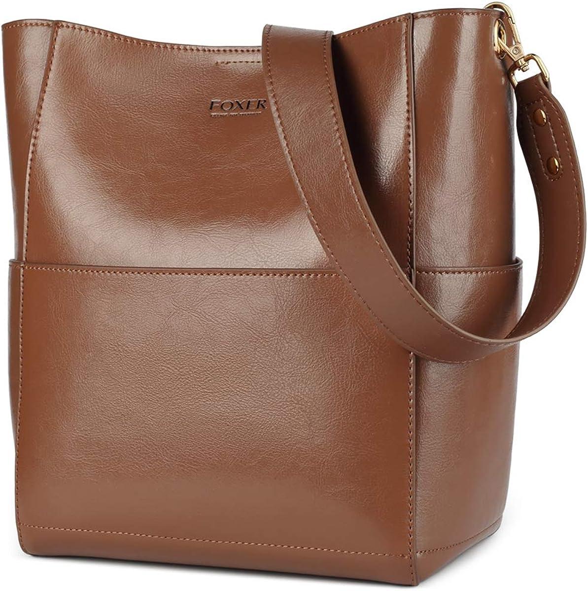 Genuine Leather Handbags for Women, Ladies Shoulder Bucket Bags Top-handle Bags