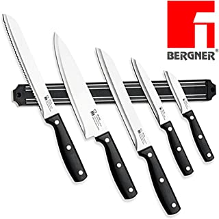 Masterpro 8920 - Juego de 5 cuchillos de cocina de acero inoxidable con barra magnética para colgar cuchillos y soporte magnético para cuchillos