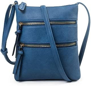 Casual Multi Pocket Double Zipper Vertical Crossbody Bag Messenger Bag for Womens