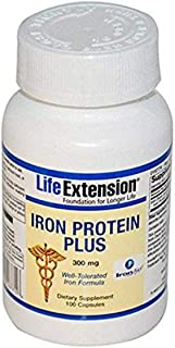 Life Extension Iron Protein Plus Vegetarian Capsules, 100 Count