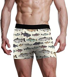 Retro Vintage Fish Pattern Marine Sea Life para Hombres Boy Mens Boxer Briefs Bulge Pouch Underpants Ultra Soft Premium Comfortable Underwear Navy Stretch Boxer Trunk