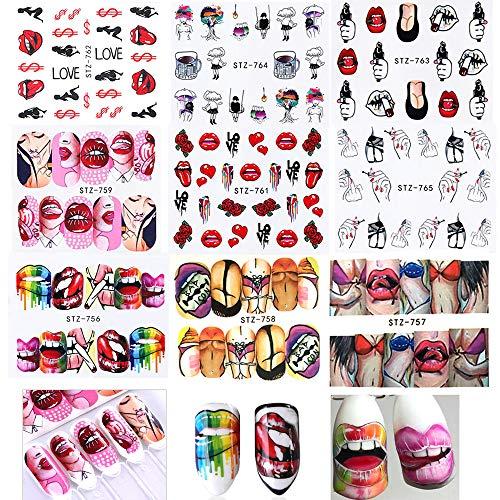 9 Stück Nagelsticker, Mwoot Lippe Nail Art Sticker Set Kunst Aufkleber Maniküre Deko Tattoo Nageldesign Stempel Schablonen