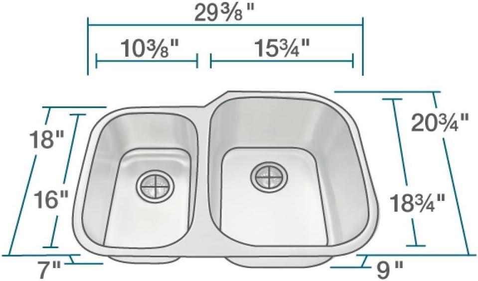 MR Direct 506R 18-Gauge Undermount Offset Double Bowl Stainless Steel Kitchen Sink