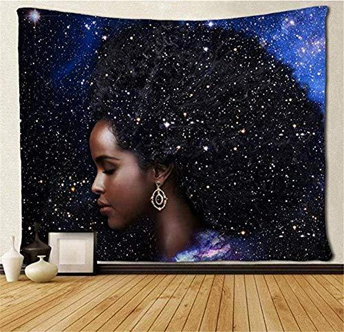 WH-CLA Indoor Tapestry,Tapiz De Interior De La Vía Láctea De Las Mujeres Afroamericanas, Tapices De Interior con Estampado Floral para La Decoración De La Sala De Estar del Hogar,152x229cm