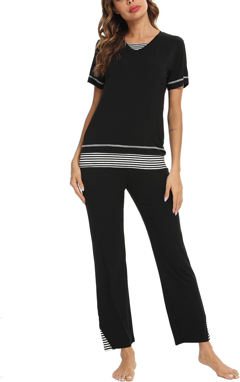 TIKTIK Womens Bamboo Pajama Set Comfy Sleepwear Short Sleeve Top with Pants Pjs Petite Plus Size S-4XL