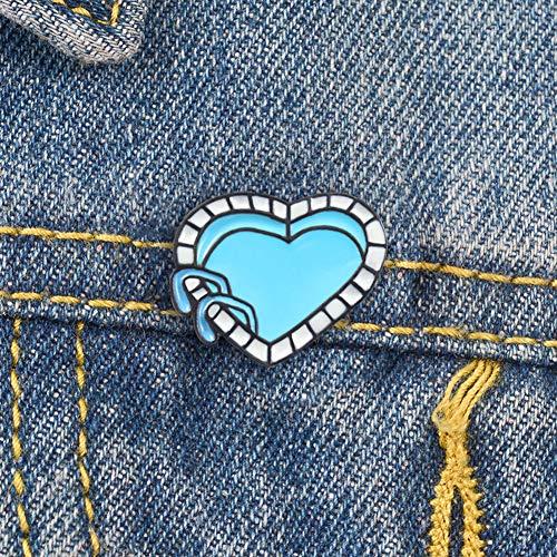 lamta1k Broche en émail en forme de cœur de piscine Bleu