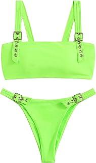 SweatyRocks Women's Sexy Bathing Suits Square Neck Padded Thong Bikini Set Swimsuit