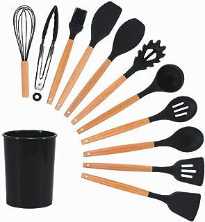 Couteaux Et Ustensiles De Cuisine,Ustensiles de cuisine en Silicone ensemble d'ustensiles de cuisine antiadhésifs résistan...
