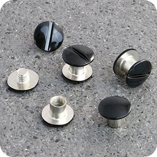 Telliswelt 10 Qualitäts Gürtelschrauben schwarz Buchschraube 5 mm Schraubniete