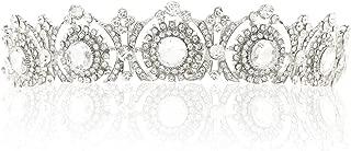 Barogirl Wedding Crowns and Tiaras Vintage Rhinestones Princess Flower Crown Bridal Hair Accessories for Women (Antique Silver-Style 2)