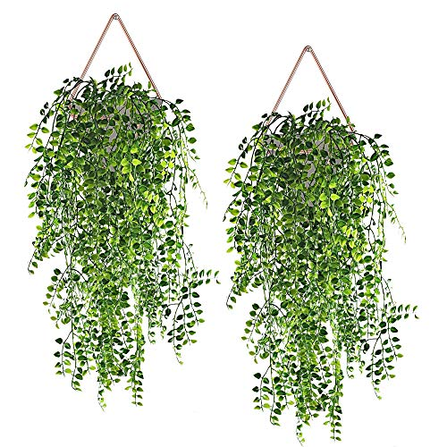 Artificial Plants Vines Fake Hanging Ivy Decor Plastic Greenery for Wall Indoor Outdoor Hanging Baskets Wedding Garland Decor (Pack of 2)