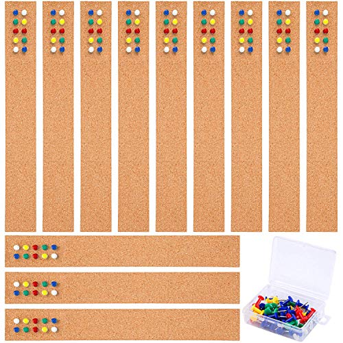 Cooraby 12 Pack Cork Strips 15 x 2 Inch Frameless Self-Adhesive Cork Board with 40 Pieces Cork Board Pins for Classroom Office