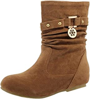 Fashion Womens Martin Women Autumn Snow Winter Casual Comfortable Vintage Breathable Waterproof Ankle Keep Warm Flock Rivets Matte Short Bootie (Color : Yellow, Size : 5.5 UK)