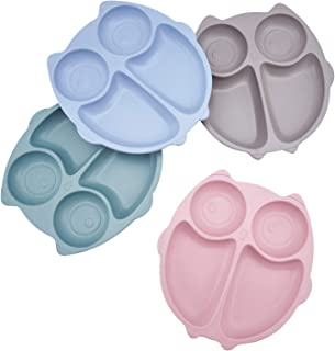 4pcs Kids Divided Plate, Divided Plates for Kids, Non Toxic & Safe Divided Toddler Plates, Eco-Friendly Tableware for Baby...