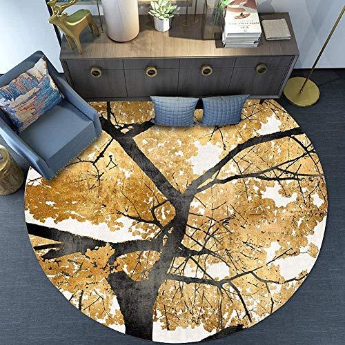MISJIA 7MM/ModeTeppich,Runden Durchmesser Golden Traditionelle Schlafzimmer Wohnzimmer Teppich Kaffetisch Büro Teppich,40CM
