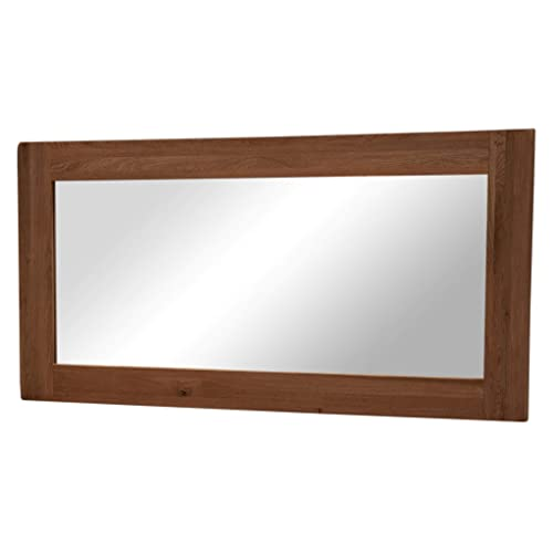 f178142ab972 Yabbyou Vintage Solid Oak Large Wall Mirror 120cm by 64cm Bevelled Glass